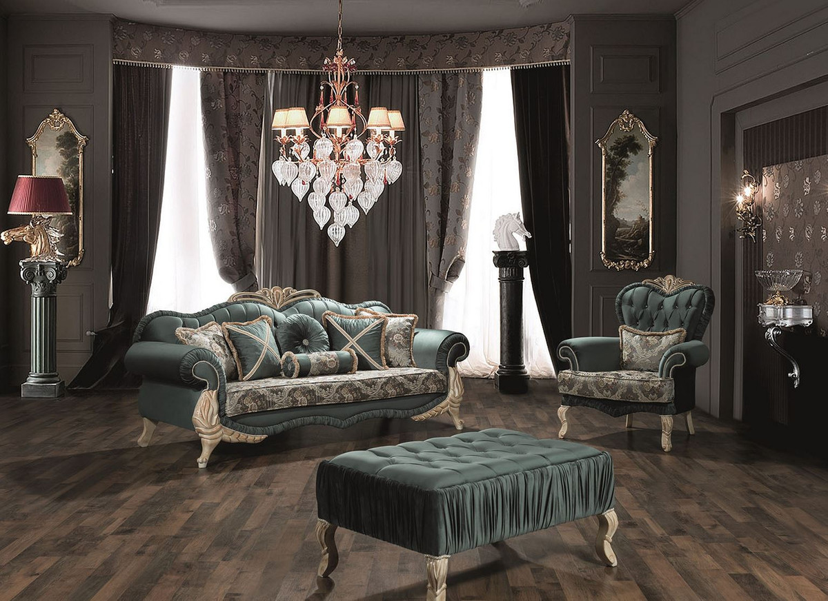 Couchtisch 90x70 Casa Padrino Luxury Baroque Coffee Table Green / Cream / Beige 90 X 60 X H. 45 Cm - Living Room Table With Rhinestones - Living Room Furniture In Baroque Style |