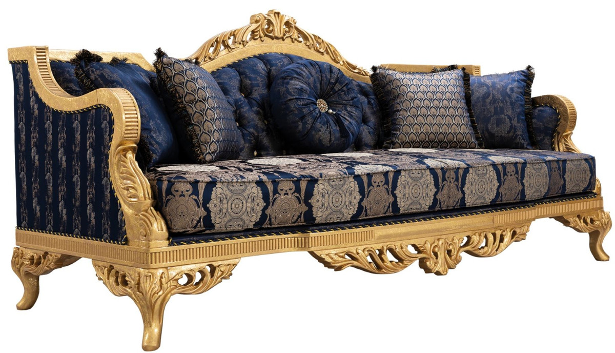 Couch Lila Casa Padrino Luxury Baroque Sofa With Rhinestones And Decorative Pillows Dark Blue / Gold 228 X 93 X H. 108 Cm - Baroque Living Room Furniture |