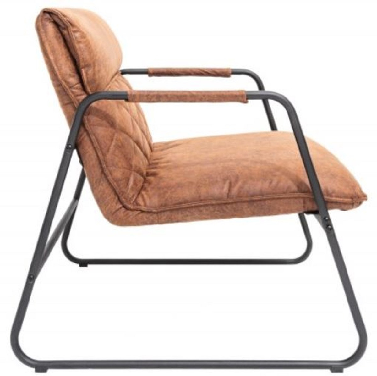 Ledersessel Lounge Casa Padrino Retro Lounge Chair Vintage Light Brown / Black 71 X 72 X H. 79 Cm - Faux Leather Armchair With Metal Frame - Living Room Furniture |
