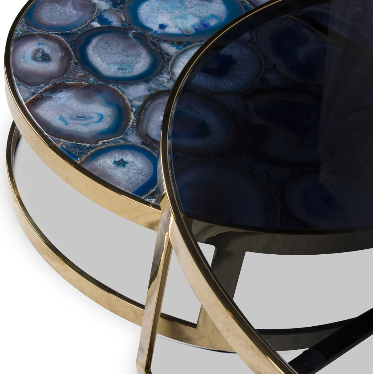 Wohnzimmertische Oval Casa Padrino Luxury Coffee Table Set Blue / Gold - 2 Round Living Room Tables With Agate Gemstone And Glass Top - Luxury Quality - Luxury Living Room Furniture |