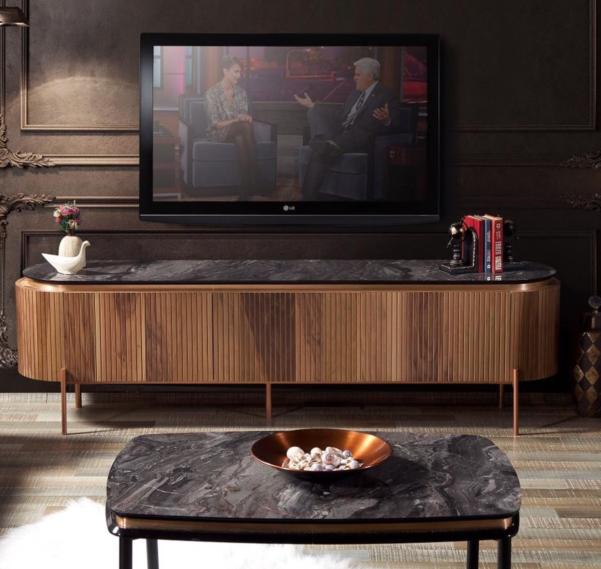 Casa Padrino Luxury Tv Cabinet Brown Black Copper 208 X 48 X H 57 Cm Tv Cabinet With 4 Doors And Glass Top In Marble Look Luxury Living Room Furniture