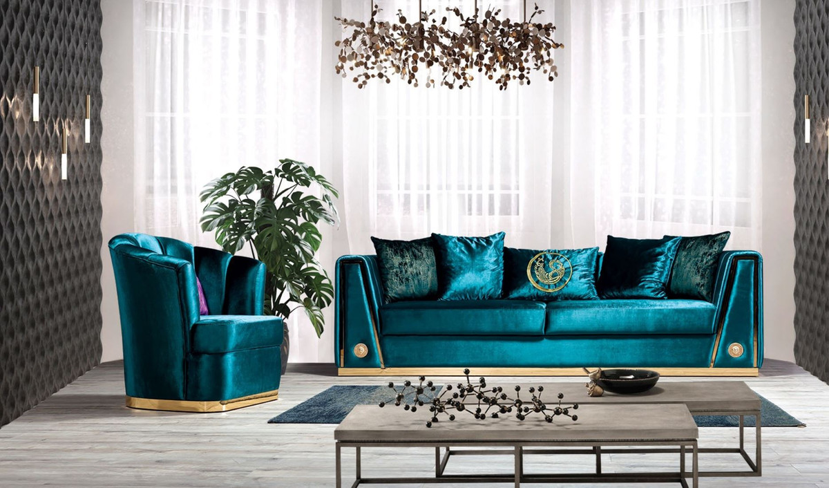 Couch Lila Casa Padrino Luxury Couch Turquoise / Gold 260 X 90 X H. 76 Cm - Noble Living Room Sofa With Decorative Pillows - Luxury Furniture |