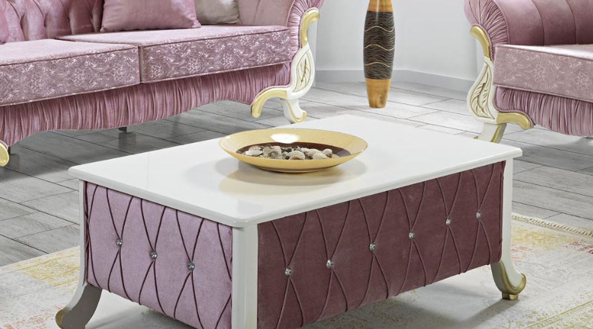 Casa Padrino Baroque Coffee Table Pink White Gold 100 X 64 X H 43 Cm Baroque Style Living Room Table With Rhinestones Baroque Furniture