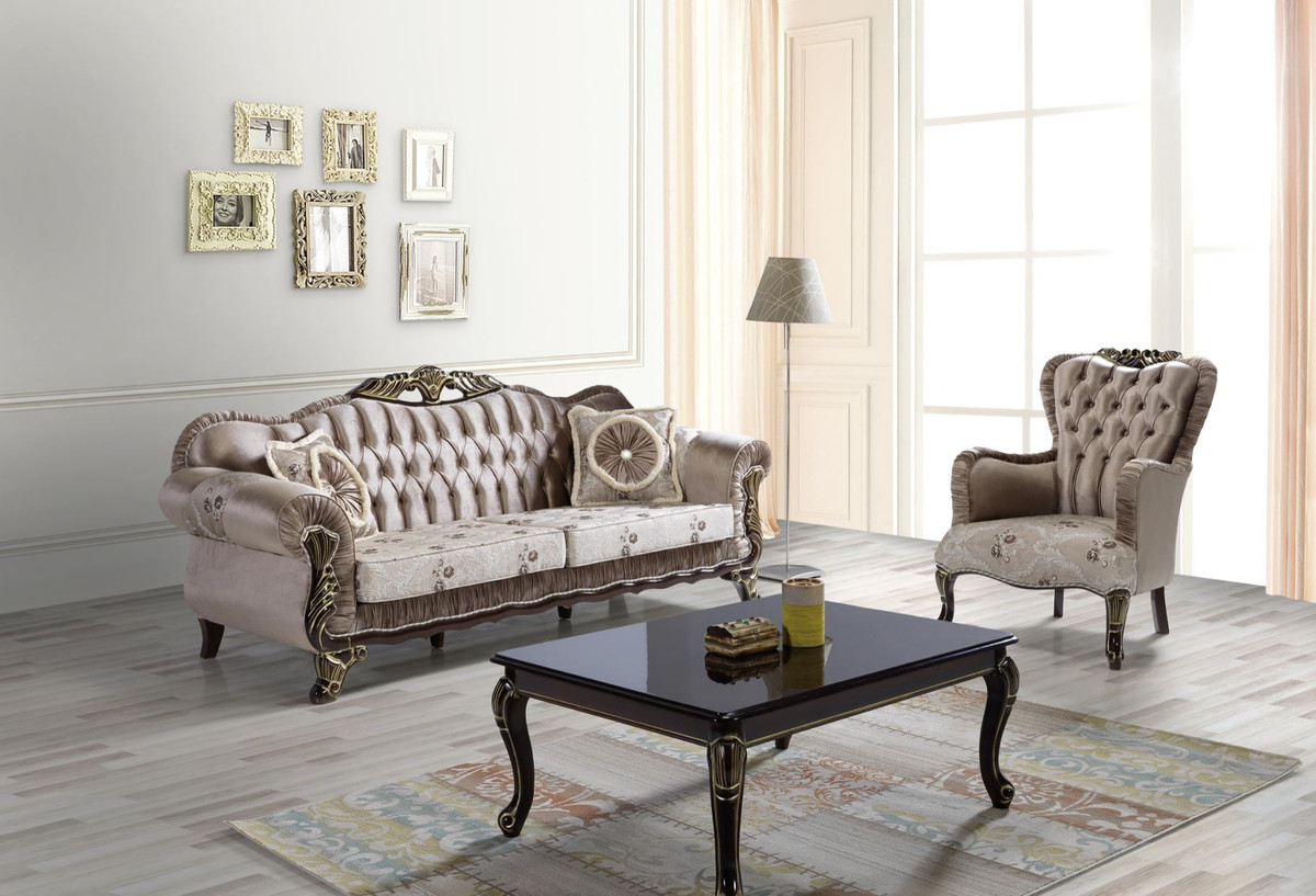 Casa Padrino Baroque Living Room Set Brown Beige Black Gold 2 Sofas 2 Armchairs 1 Coffee Table Living Room Furniture In Baroque Style