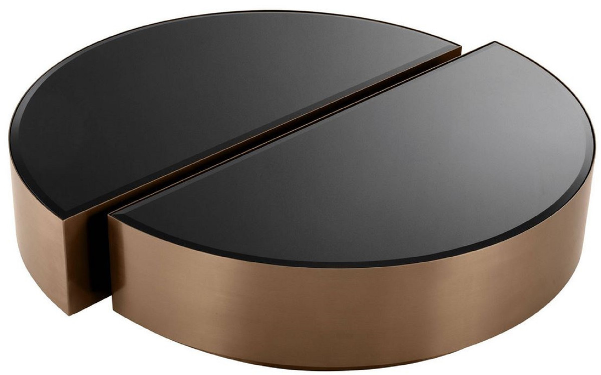 Wohnzimmertische Oval Casa Padrino Luxury Coffee Table Set Copper / Black - 2 Semicircular Stainless Steel Living Room Tables With Beveled Glass Tops - Luxury Living Room Furniture |