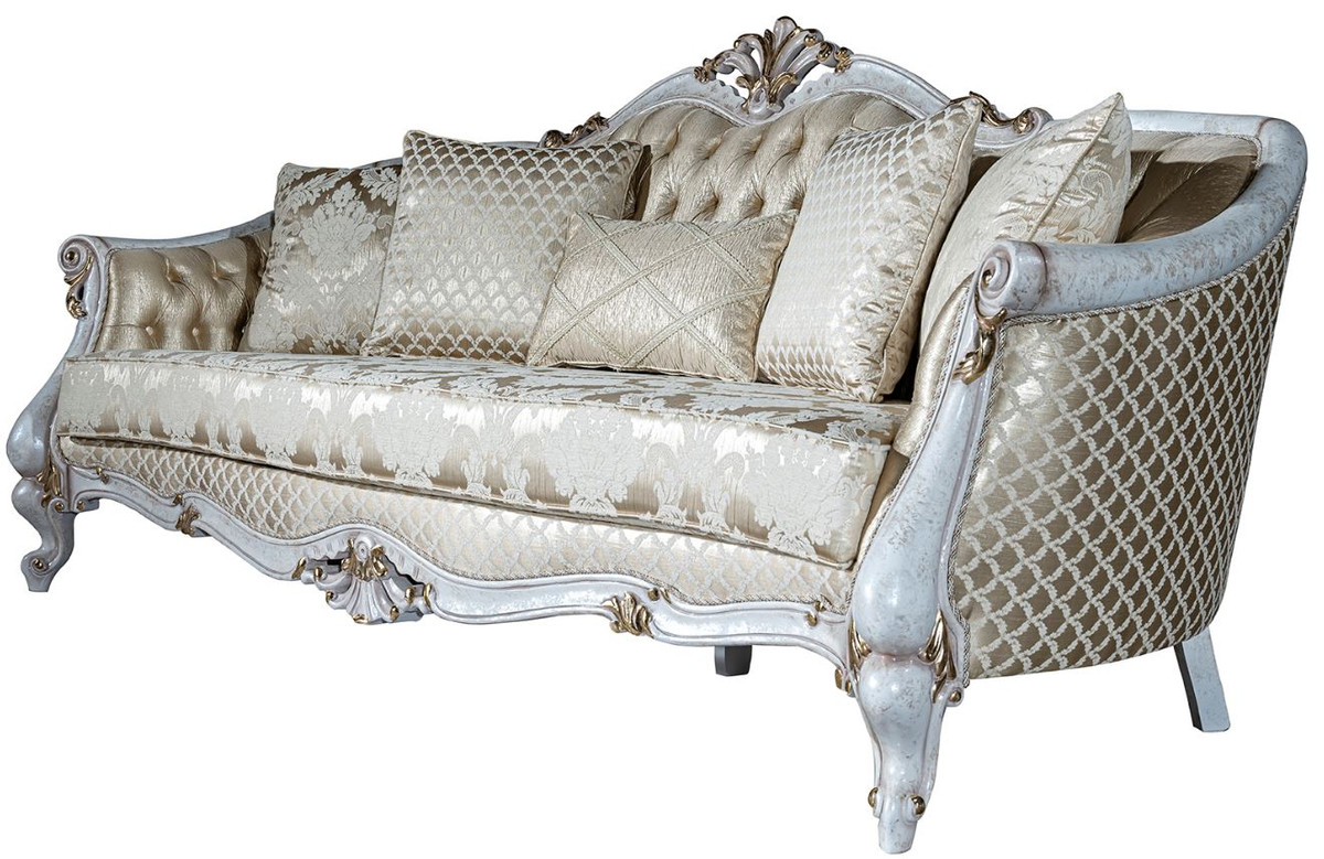Casa Padrino Luxury Baroque Sofa Gold Antique White Gold 222 X 103 X H 110 Cm Living Room Sofa With Elegant Pattern And Decorative Pillows Baroque Living Room Furniture