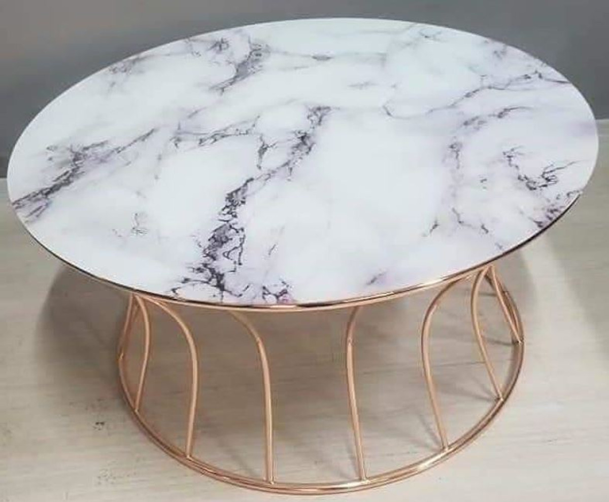 Casa Padrino Luxury Coffee Table Copper White Ø 90 X H 45 Cm Round Living Room Table With Marble Top Living Room Furniture