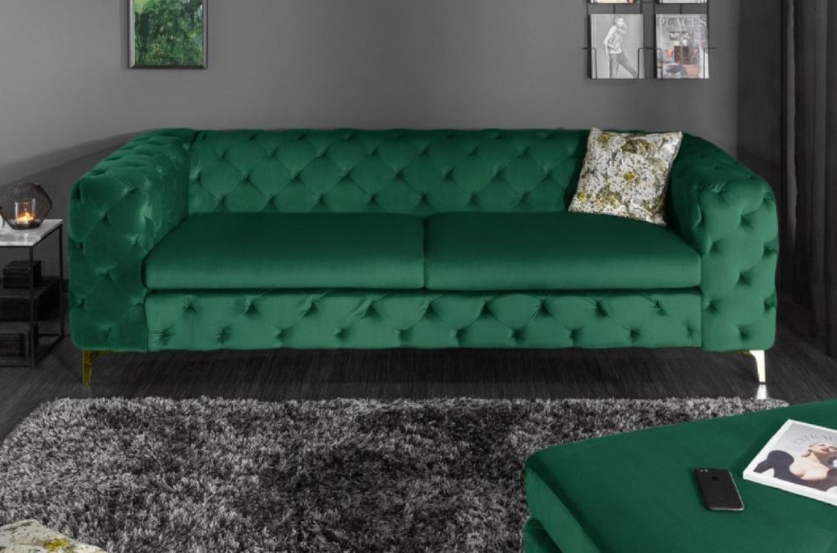 Casa Padrino Chesterfield Velvet Sofa Emerald Green Gold 240 X 97 X H 73 Cm Living Room Sofa Chesterfield Living Room Furniture
