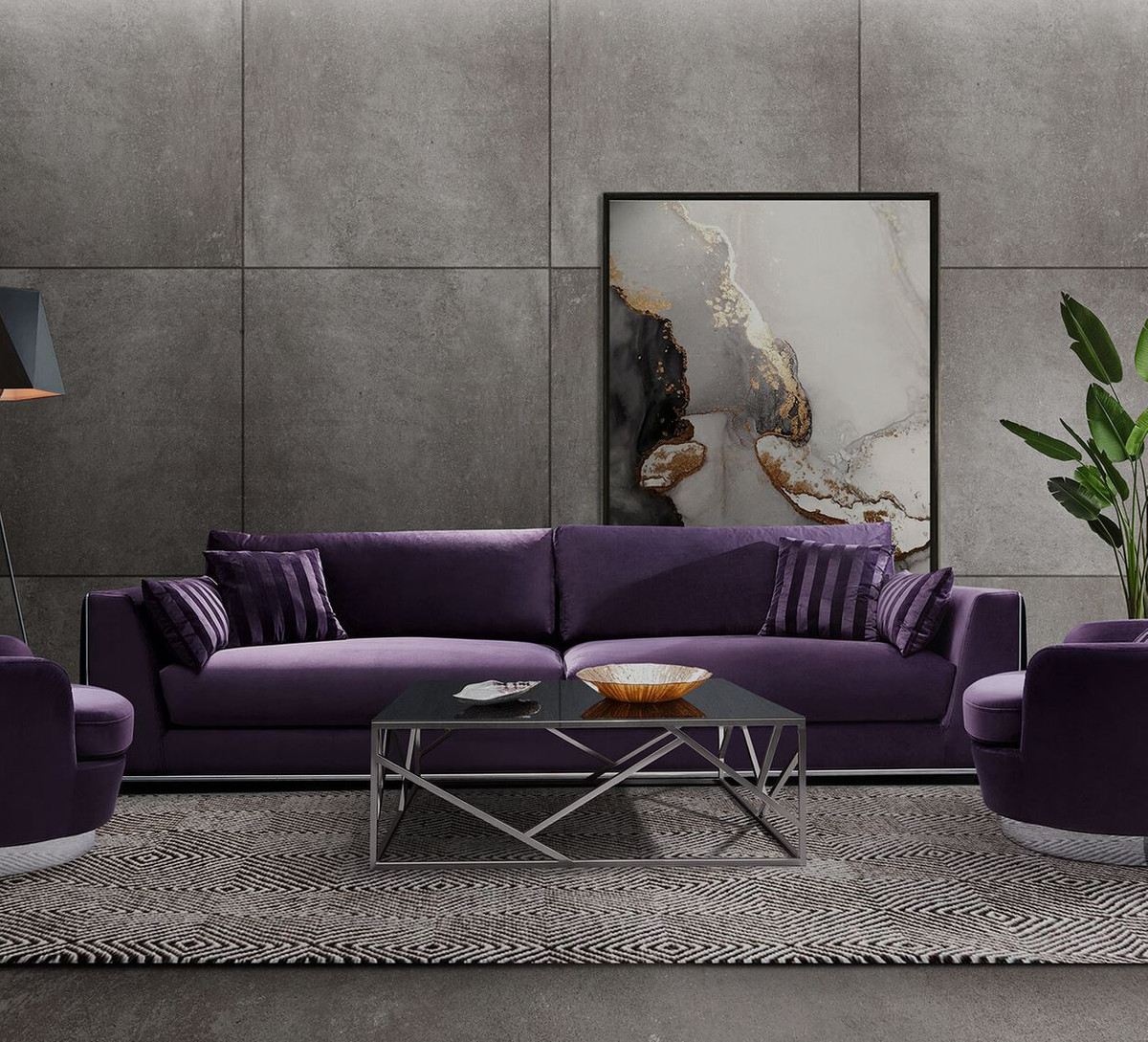 Couch Lila Casa Padrino Luxury Sofa Purple / Silver 300 X 102 X H. 61 Cm - Living Room Sofa With Decorative Pillows - Luxury Living Room Furniture |