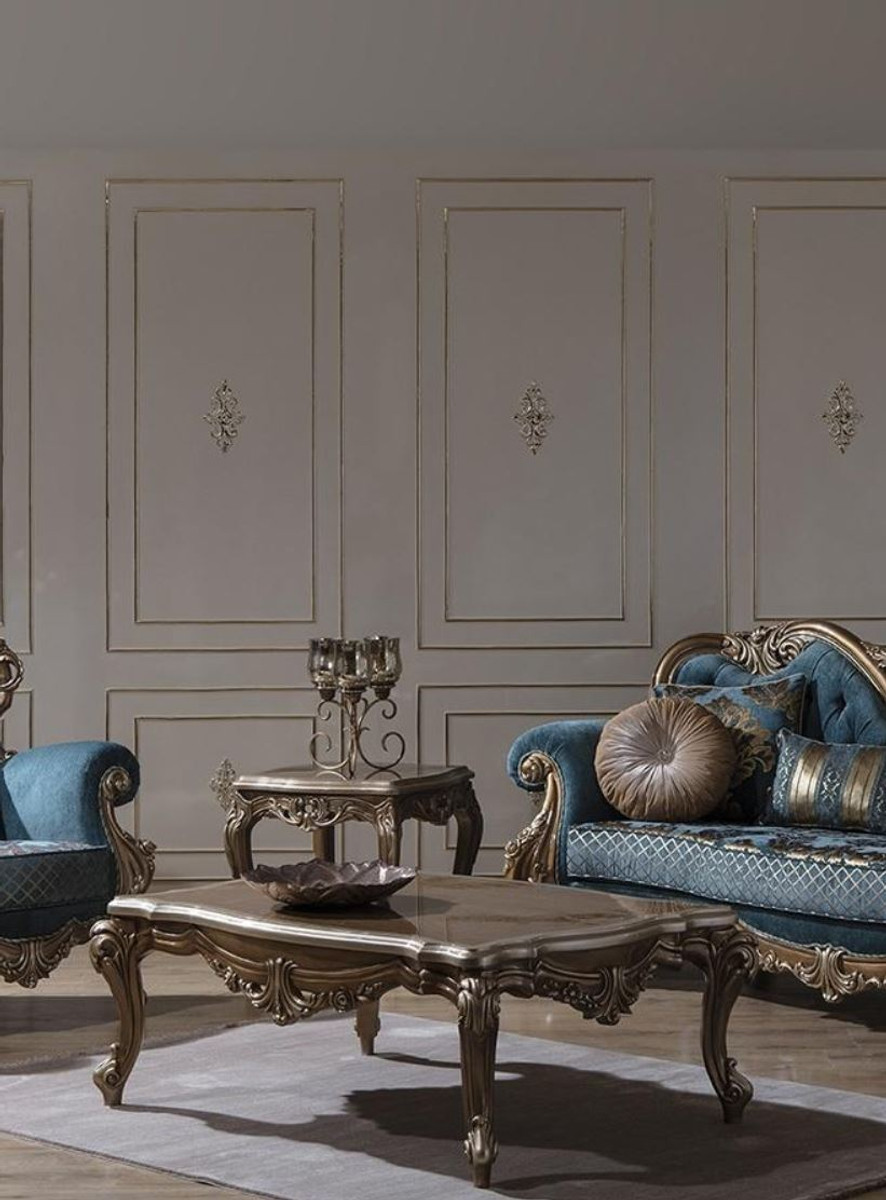 Casa Padrino Luxury Baroque Living Room Set Blue Gold 2 Sofas 2 Armchairs 1 Coffee Table Magnificent Living Room Furniture In Baroque Style