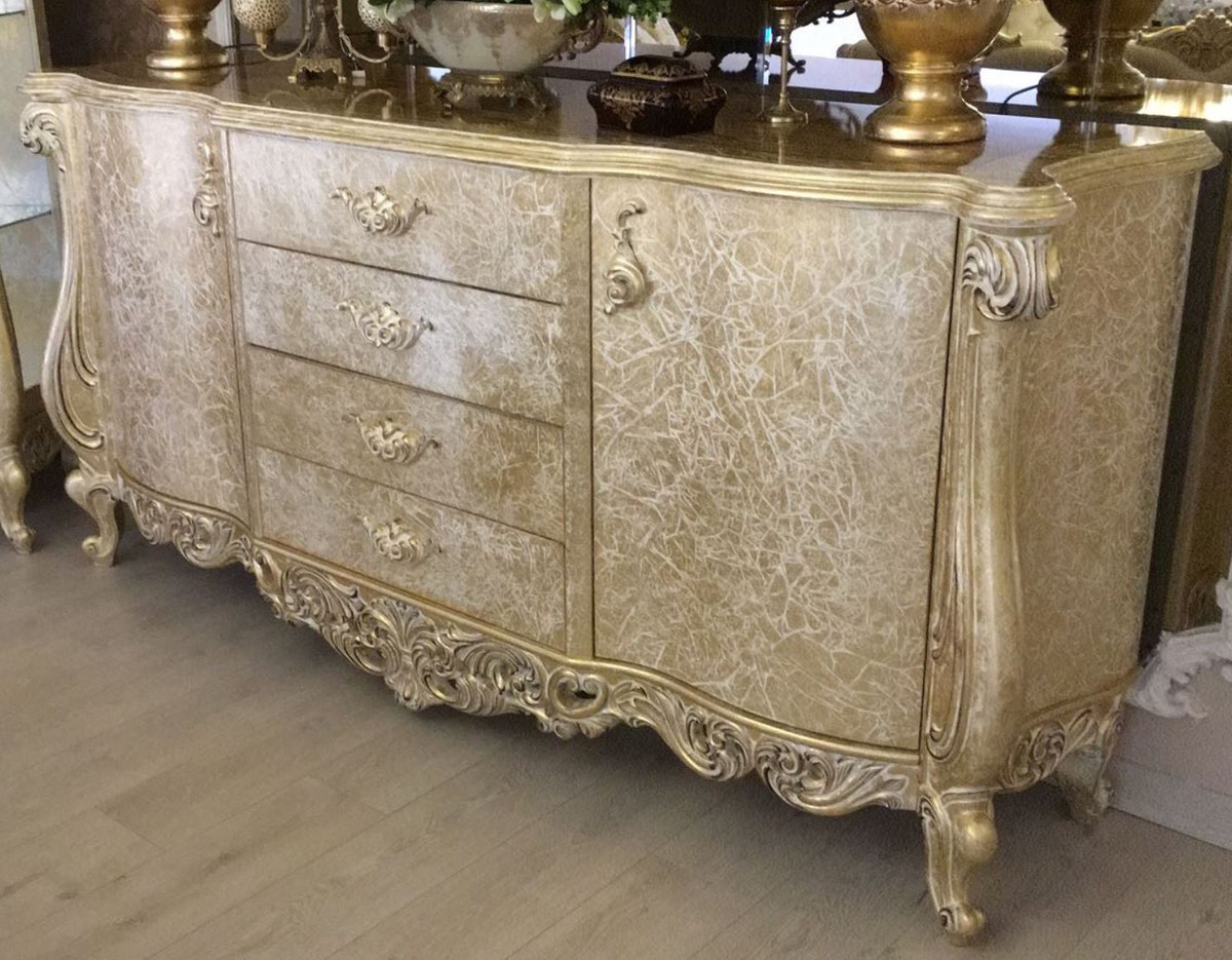 Sideboard Antik Casa Padrino Luxury Baroque Sideboard Antique Gold 220 X 55 X H. 110 Cm - Solid Wood Cabinet With 2 Doors And 4 Drawers - Noble & Magnificent |