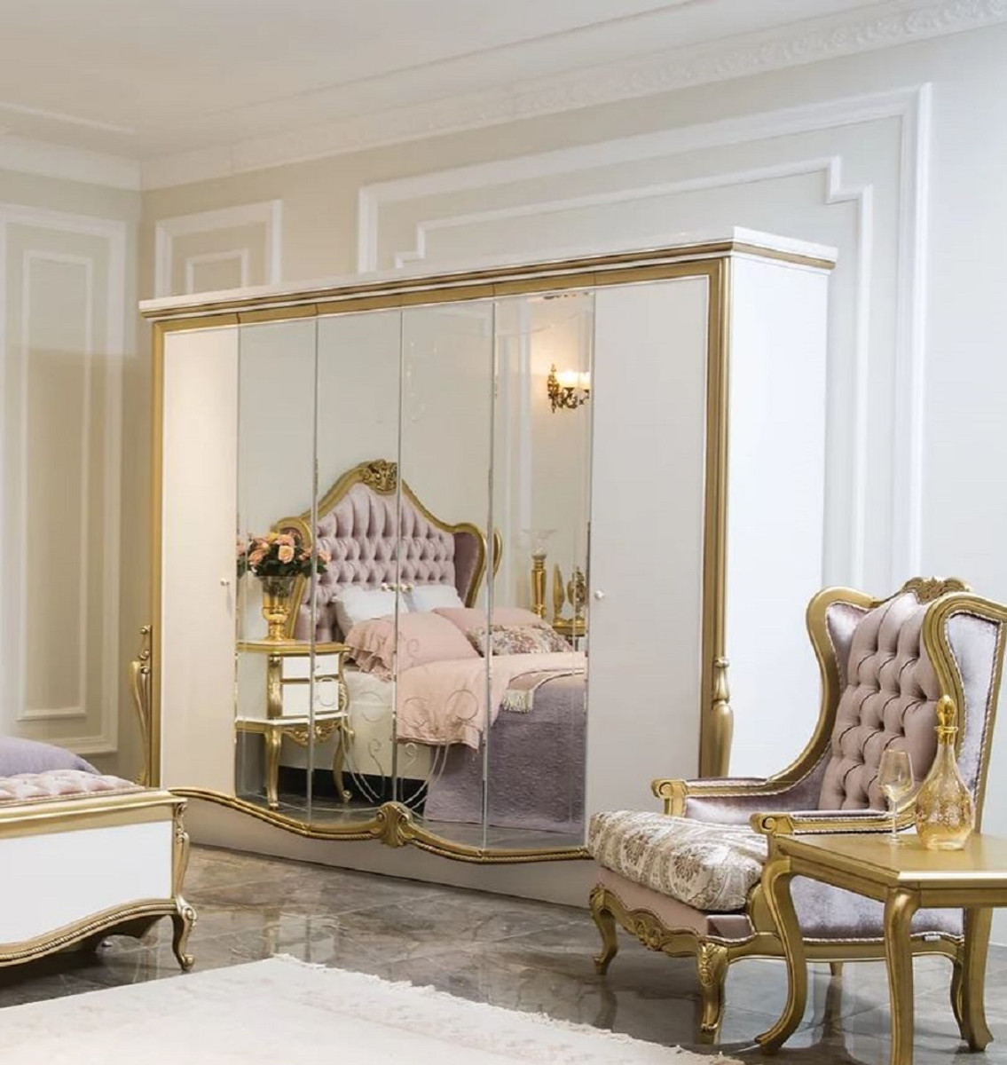 Casa Padrino Luxury Baroque Bedroom Cabinet White Gold 270 X 70 X H 224 Cm Noble Solid Wood Wardrobe Bedroom Furniture In Baroque Style Luxury Quality