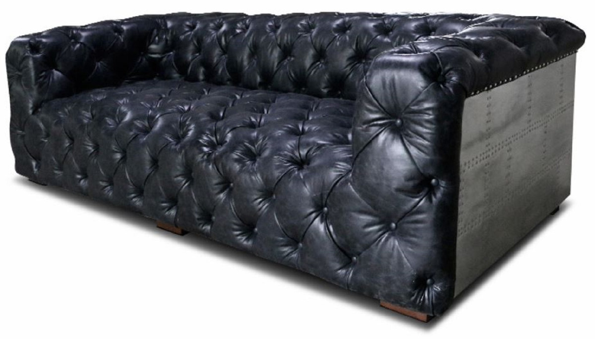 Casa Padrino Chesterfield Genuine Leather 3 Seater Sofa Vintage Black Silver Brown 240 X 100 X H 70 Cm Living Room Leather Sofa With Aluminum Cladding Chesterfield Furniture