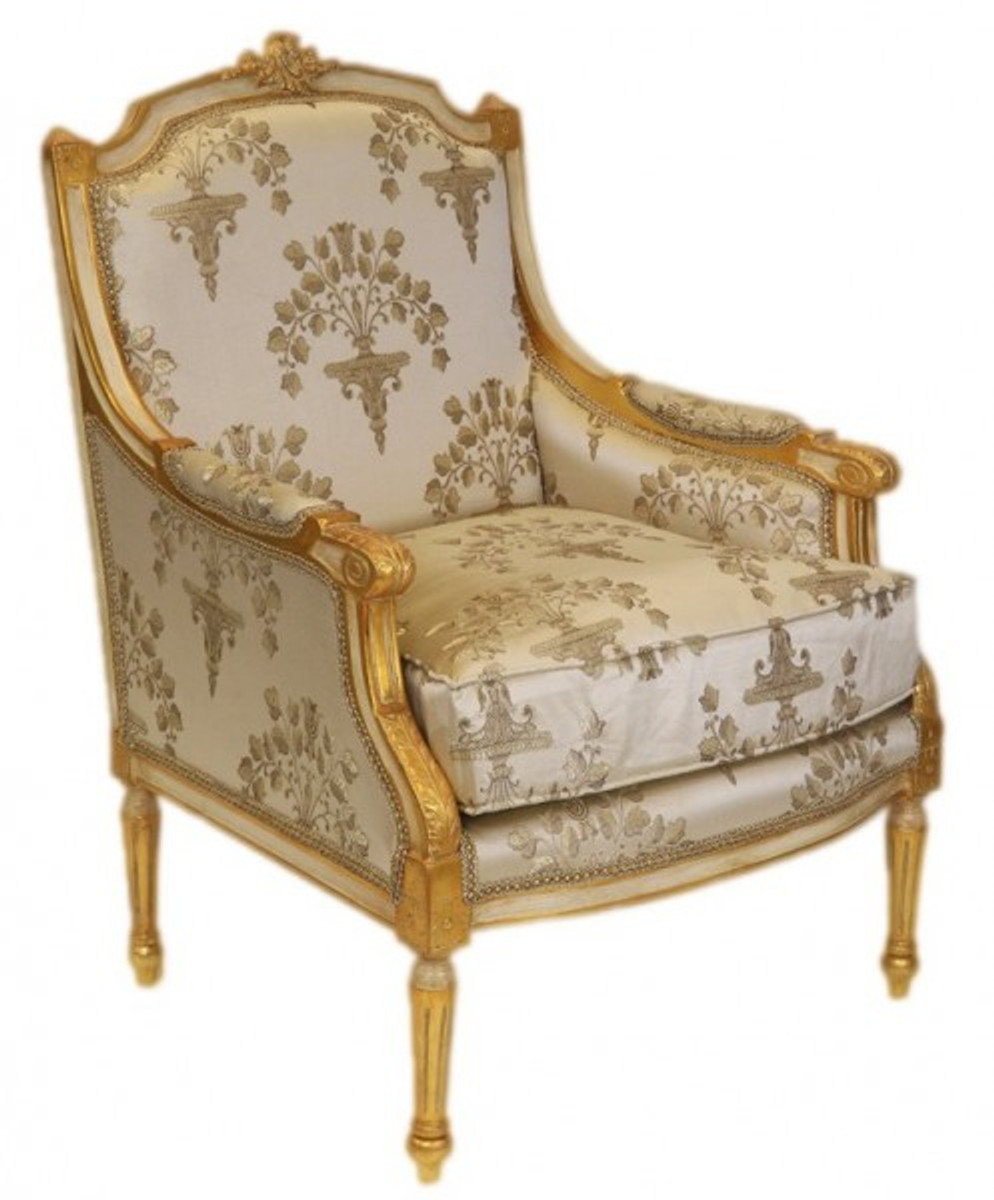 Casa Padrino Barock Lounge Thron Sessel Empire Creme