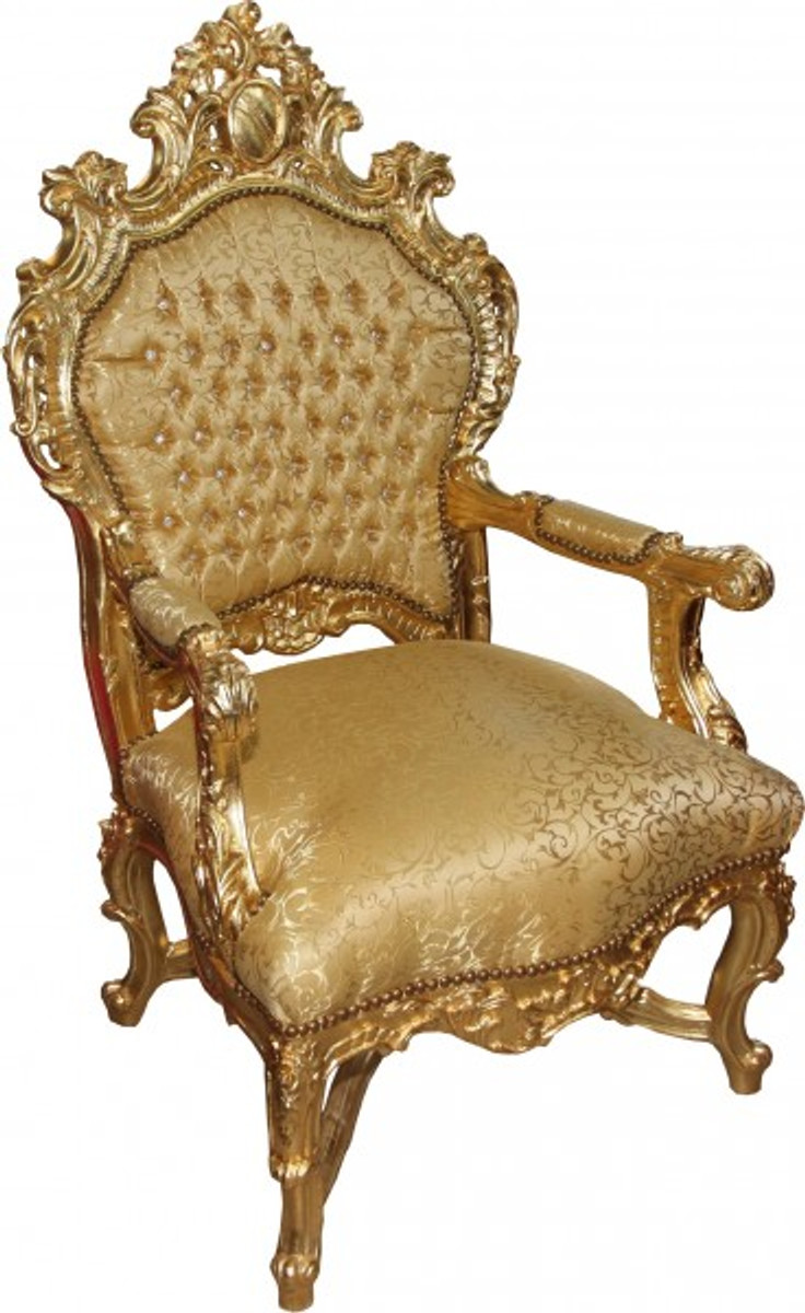 Sessel King Casa Padrino Baroque Luxury Throne Chair Gold Pattern