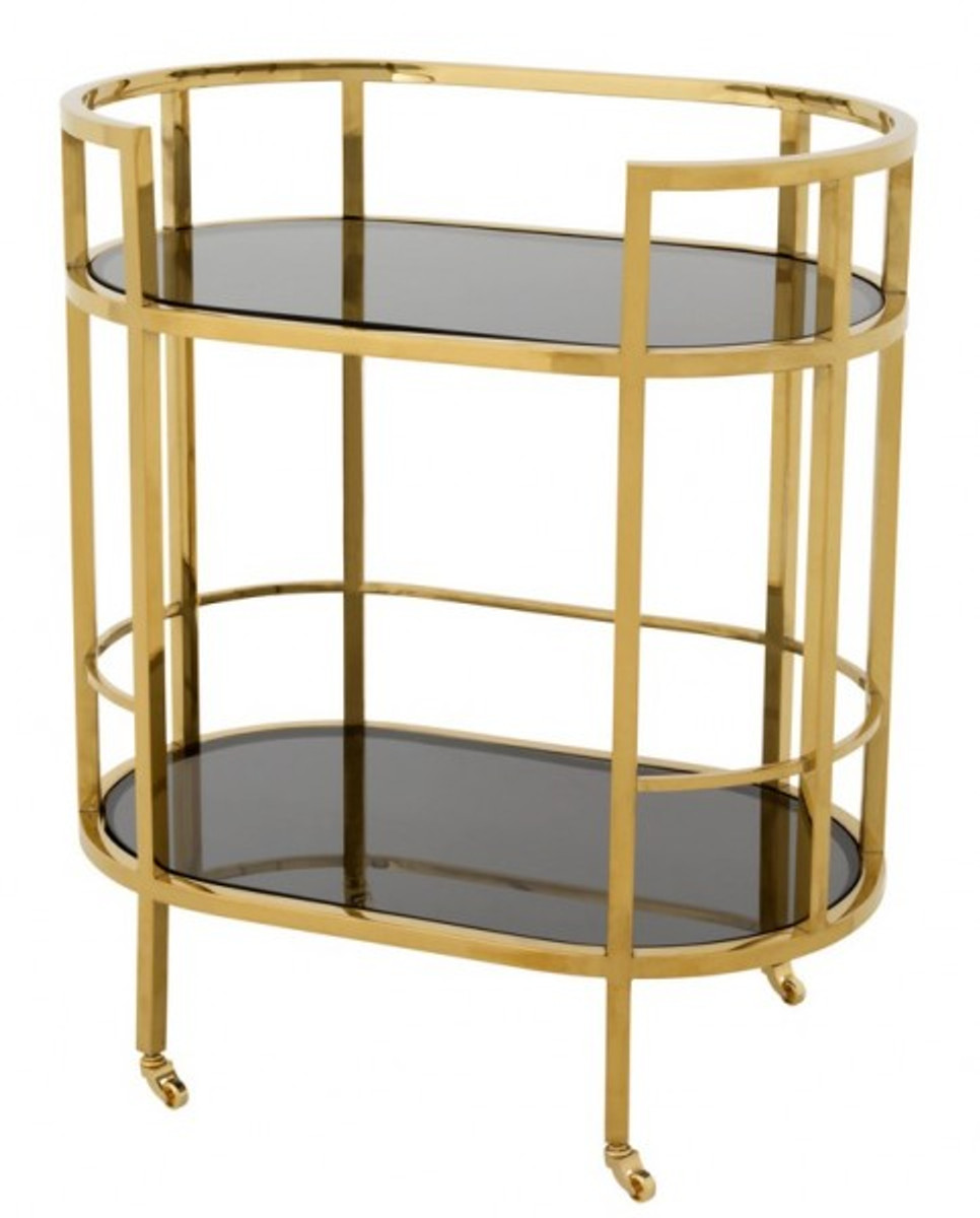 Servierwagen Gold Casa Padrino Luxury Bar Trolley Stainless Steel Gold