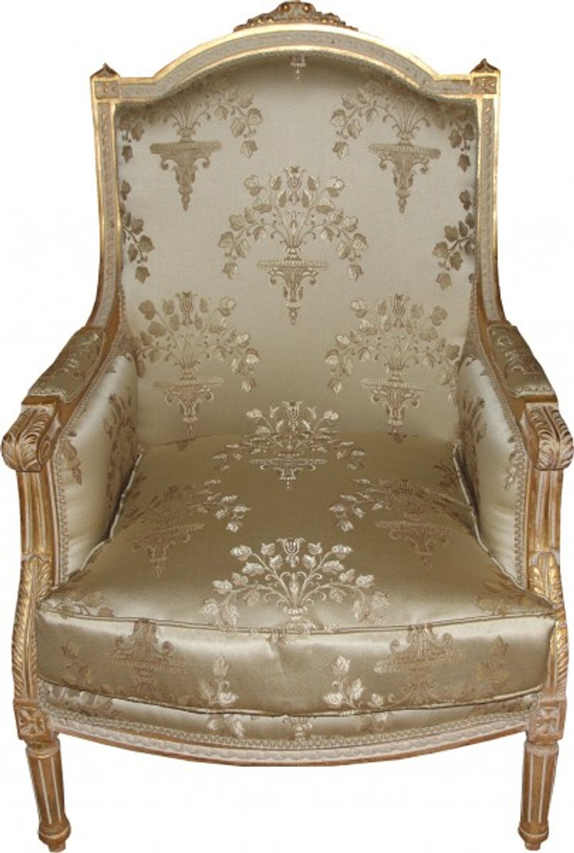 Casa Padrino Barock Lounge Thron Sessel Empire Taupe