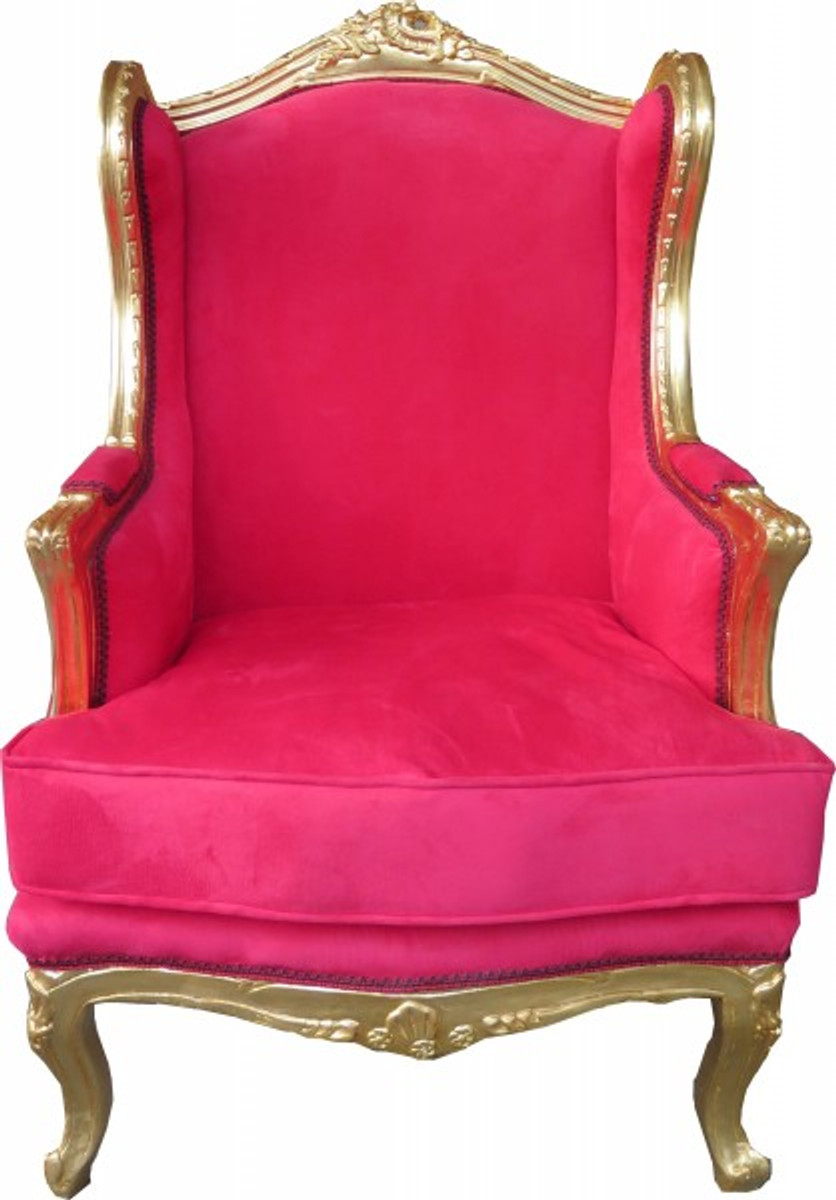 Union Jack Sessel Casa Padrino Baroque Lounge Throne Red / Gold - Wing