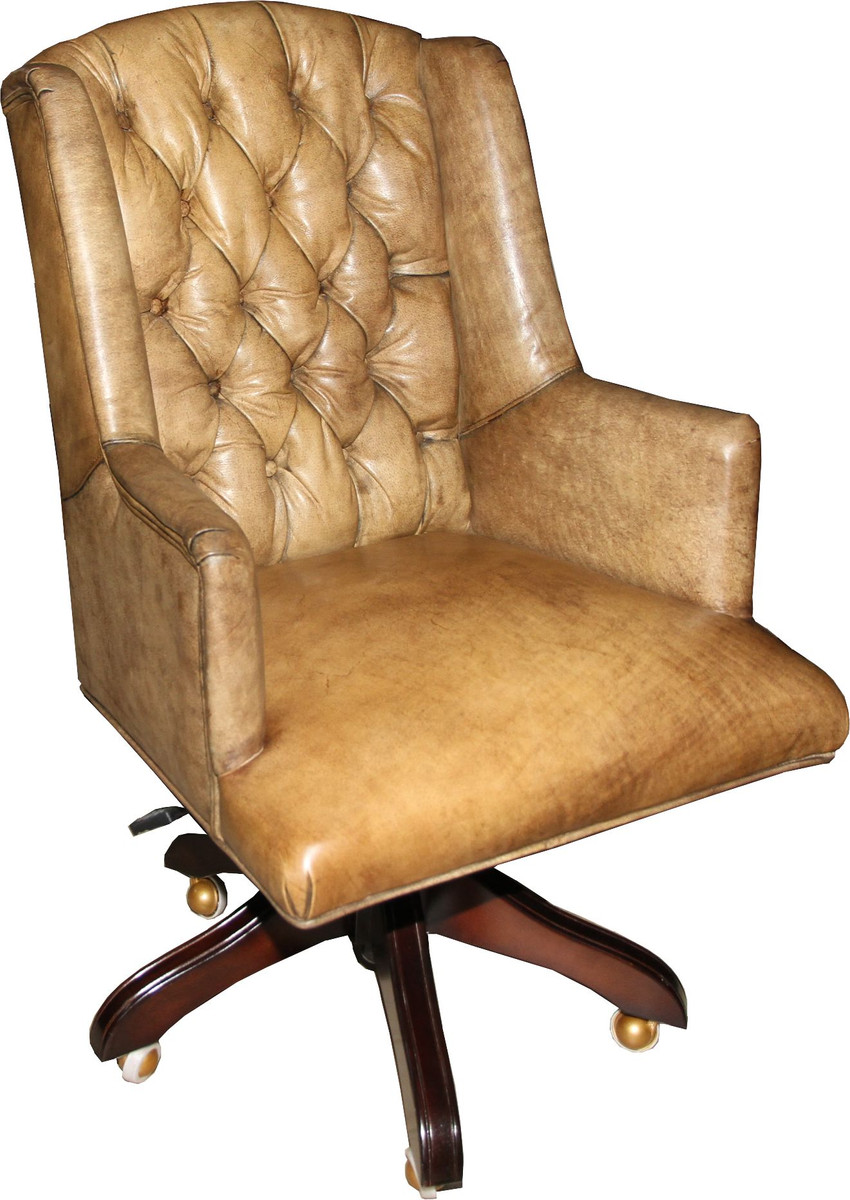 Rollbarer Sessel Casa Padrino Luxury Leather Executive Chair Office Chair Light Brown Swivel Desk Chair Head Office