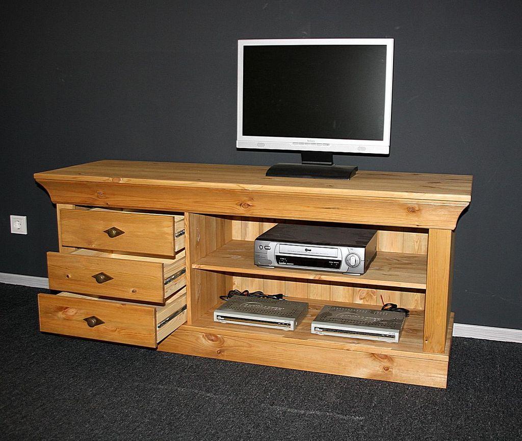 tv lowboard 143x59x45cm 3 schubladen kiefer massiv