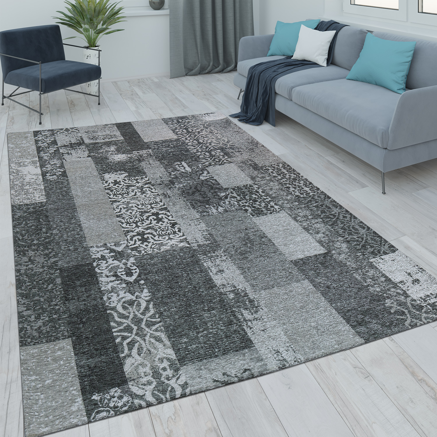 Tappeti Vintage Patchwork Tappeto Patchwork Aspetto Vintage Grigio
