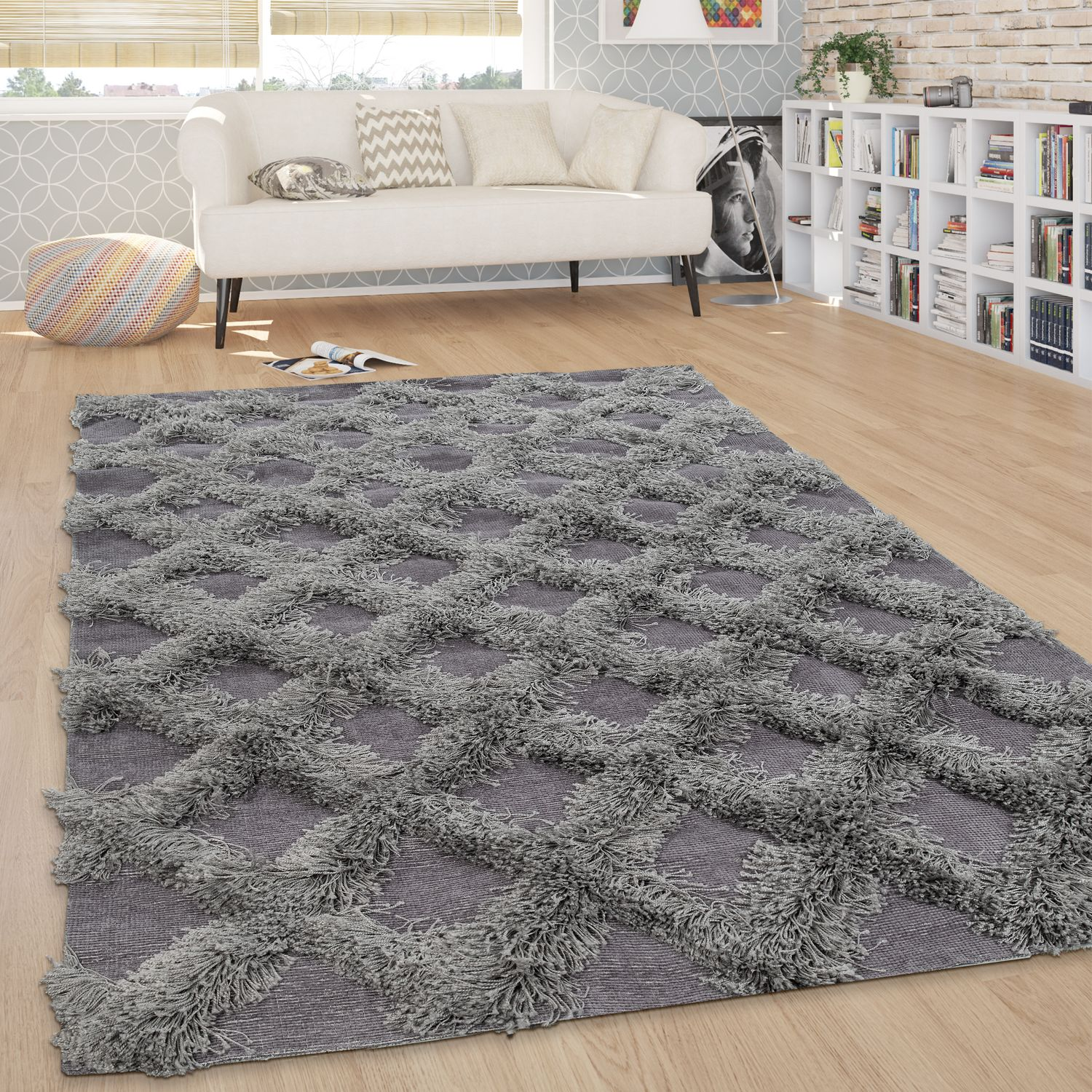 Tapis Salon Détails Sur Tapis Salon Shaggy Poils Longs Losanges Carreaux Scandinave Uni Gris