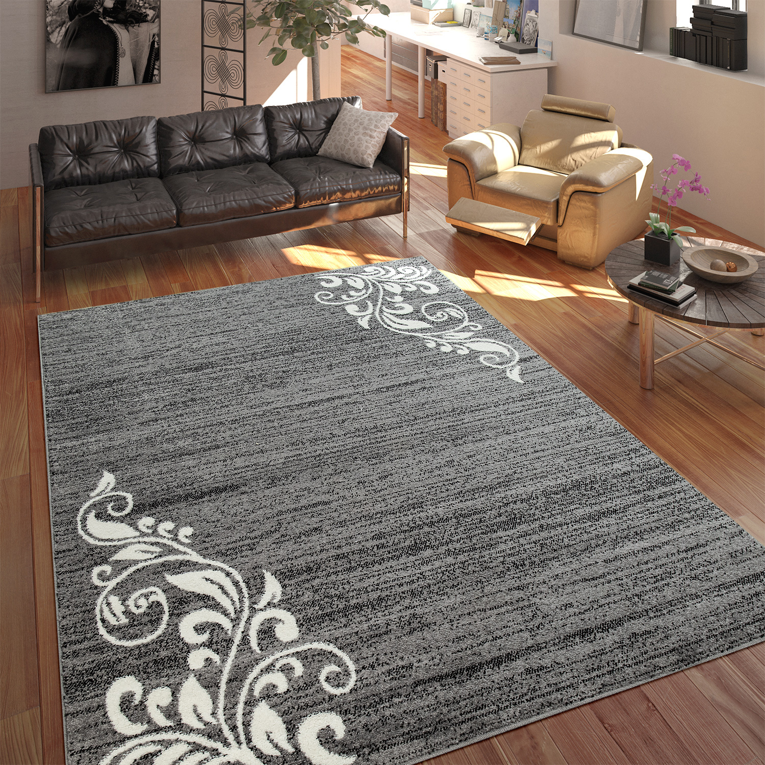 Tapis De Salon Tapis Salon Poils Ras Ornement Gris