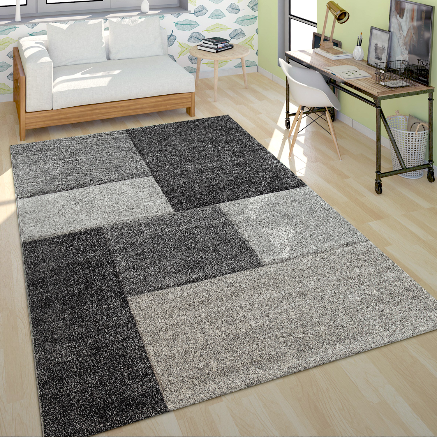 Tapis Salon Tapis Poils Ras Salon À Carreaux Gris