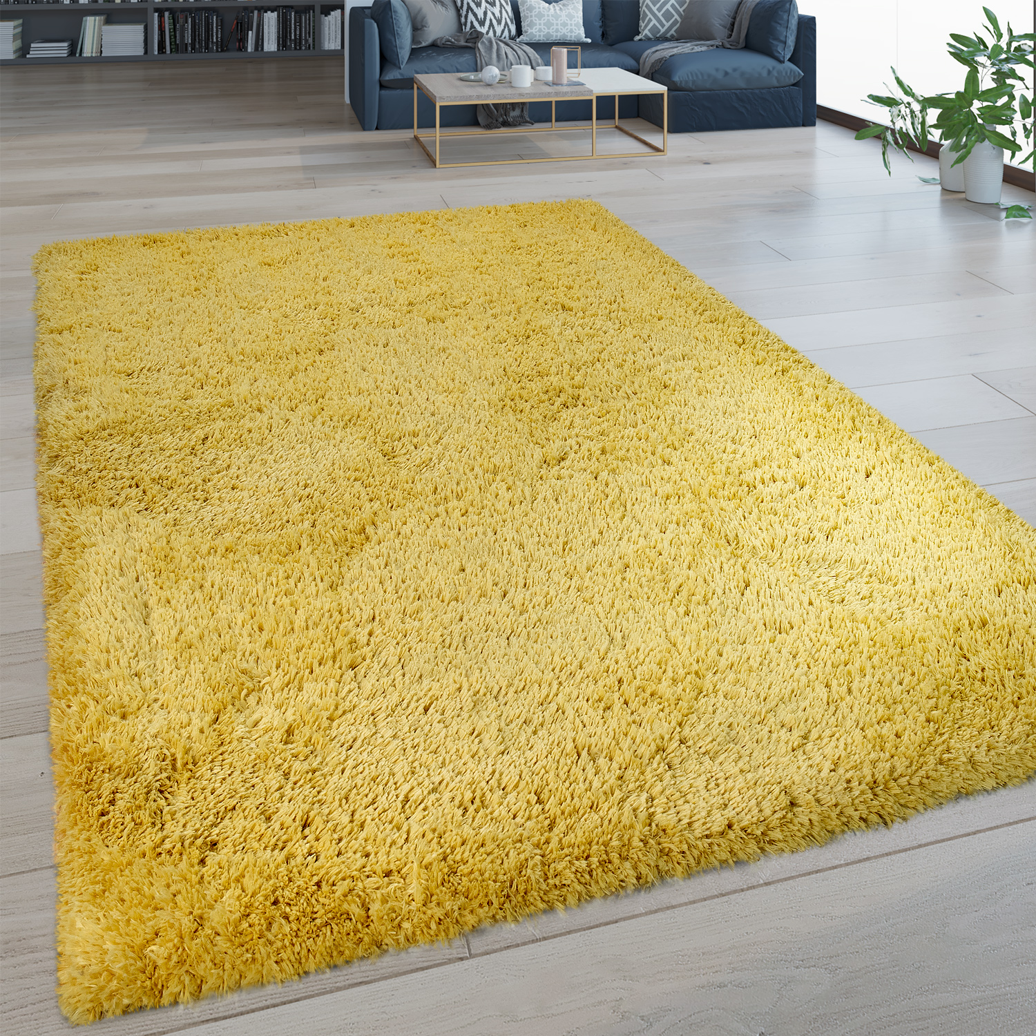Living Hochflor Teppich Shaggy Deep Pile Rug Washable One Colour Yellow