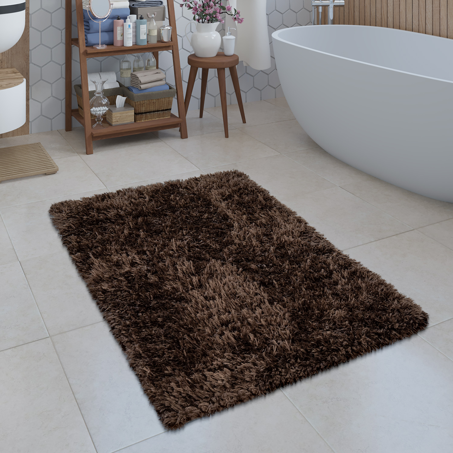 Baño Marron Alfombrilla De Baño Shaggy Monocolor En Marrón