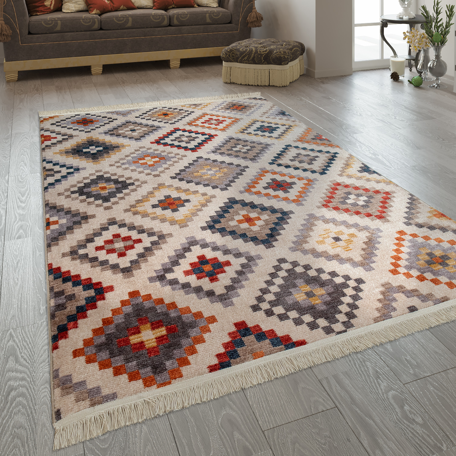 Merinos Diamond Teppich Short Pile Rugs Ethnic Diamond Multicoloured
