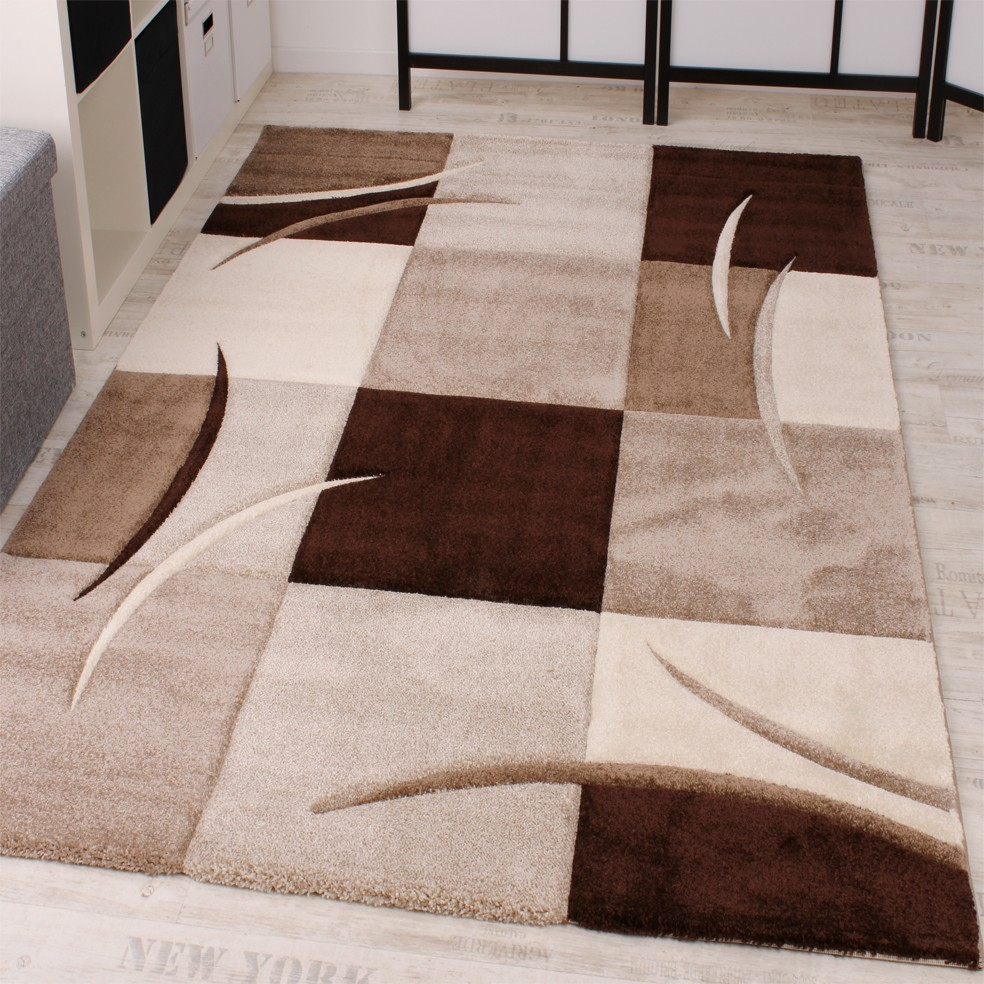 Tapis Gris Marron Tapis à Carreaux Marron Beige