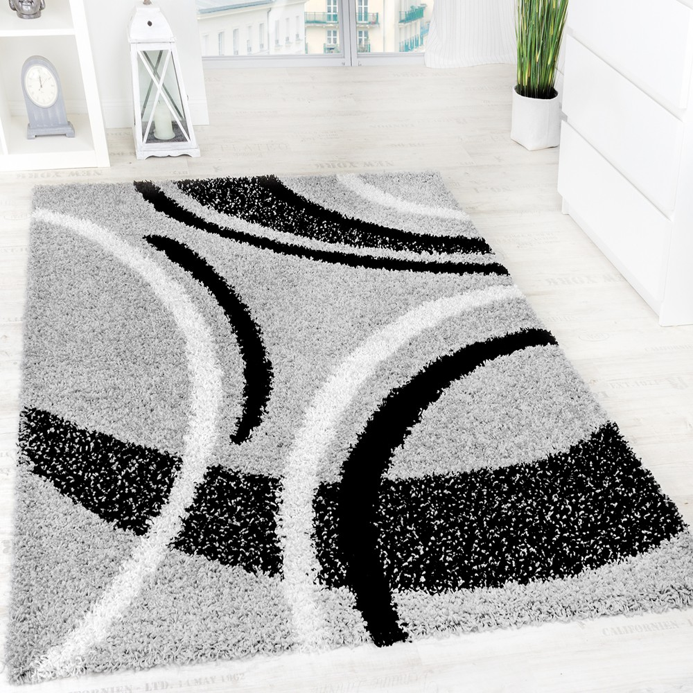 Teppich 300x400 Shaggy Grey Black White | Rug24