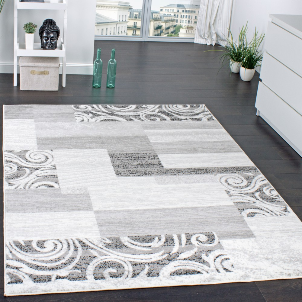 Tapis Shabby Chic Tapis Swirl Carreaux Gris
