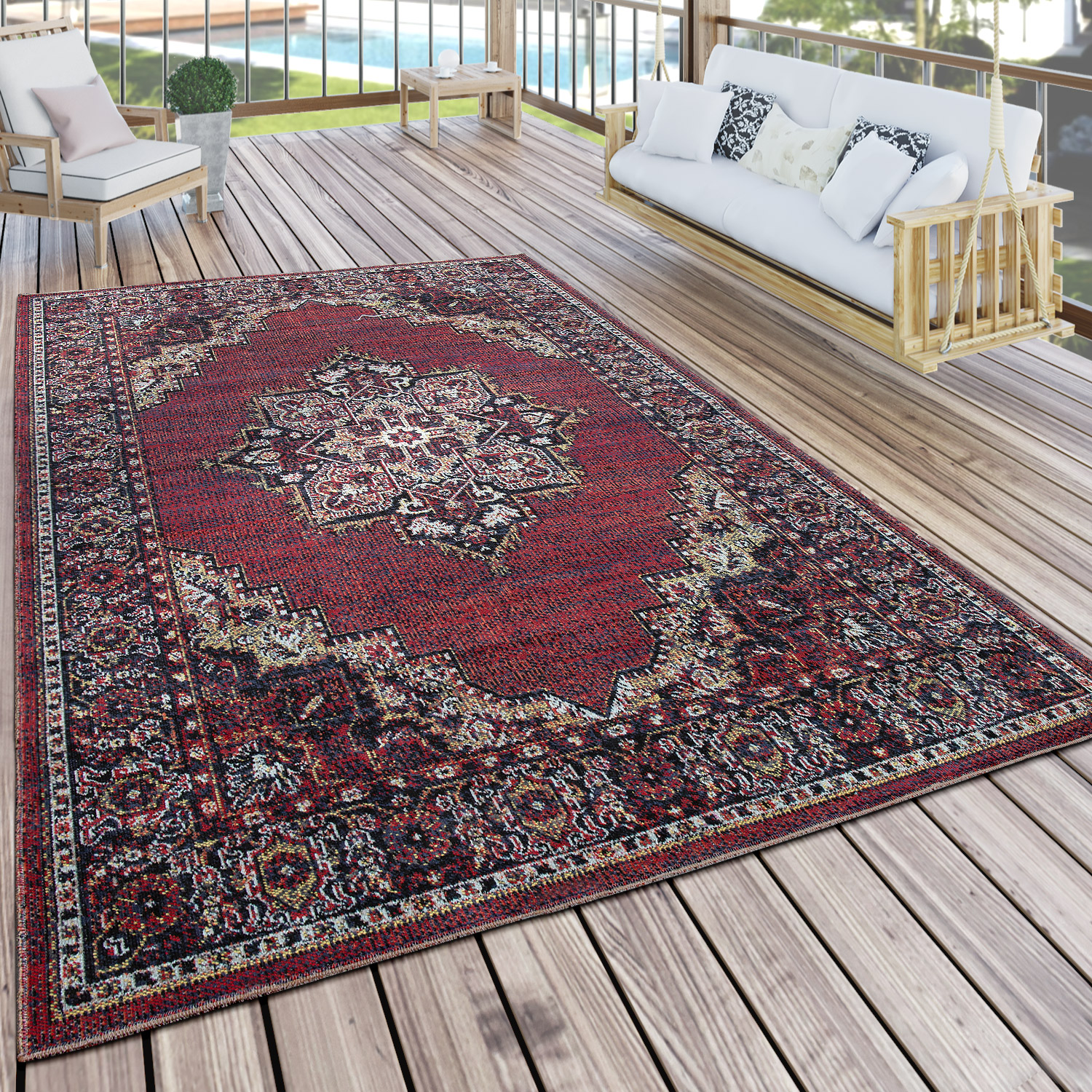 Teppich Bordeaux In Outdoor Teppich Orient Optik Bordeaux Rot