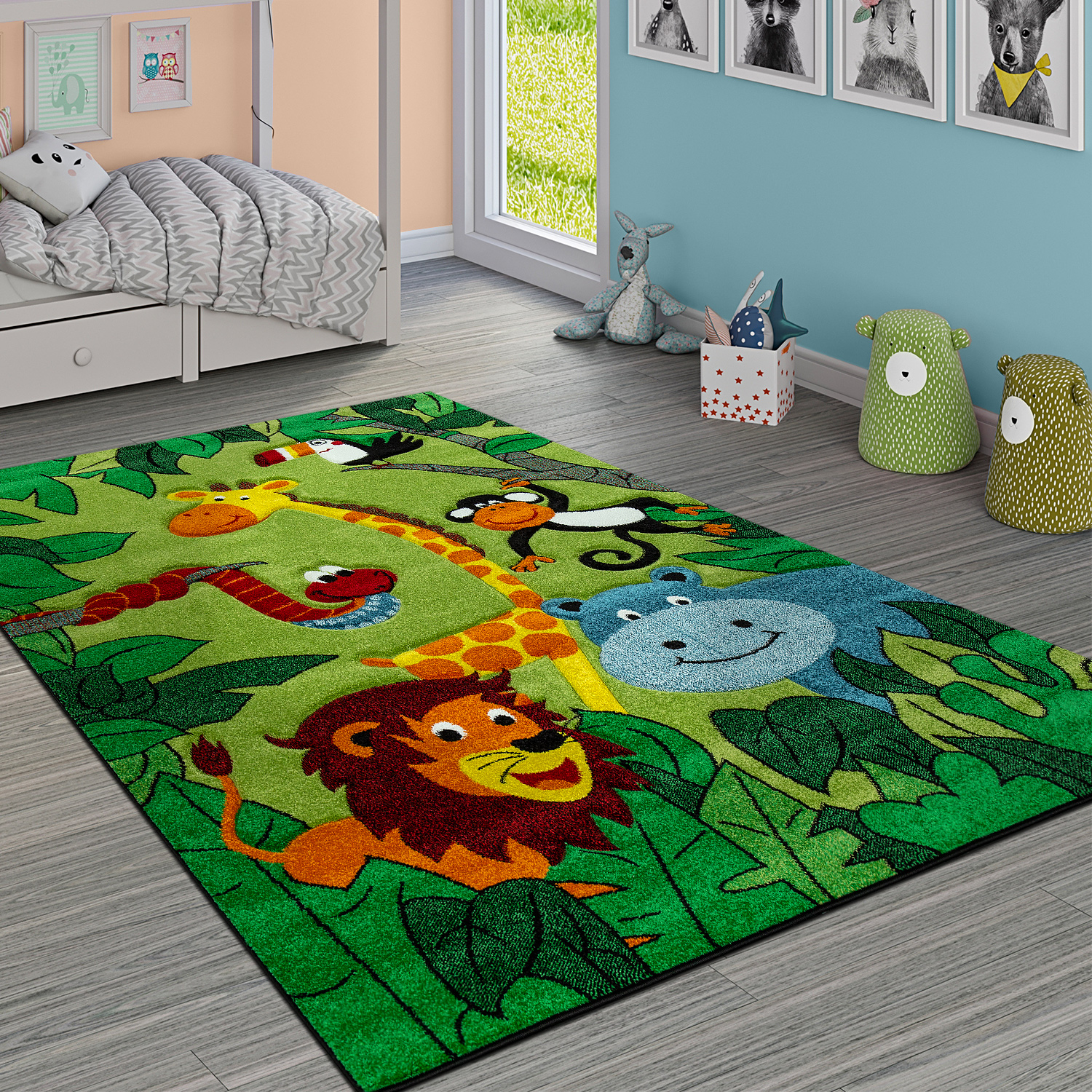 Boho Teppich Children's Rug Jungle Animals Green | Rug24