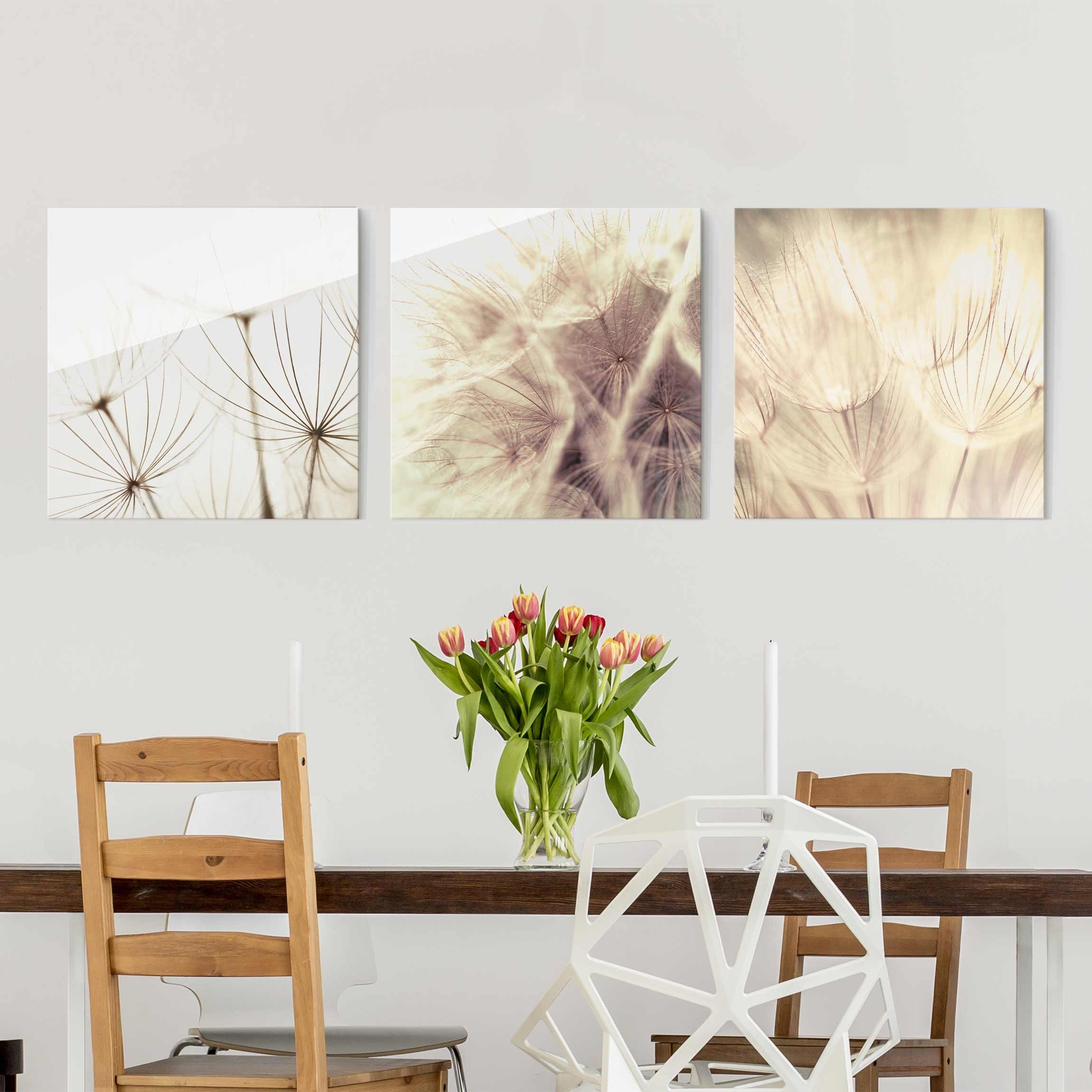 Glasbild Schlafzimmer Glass Print Set - Dandelions And Grasses - 3 Glass Wall