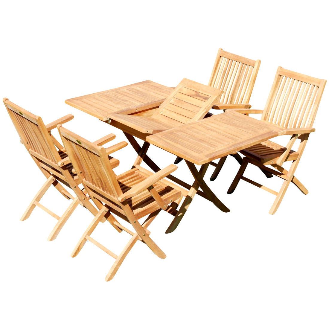 Teak Set Gartengarnitur Ausziehtisch 100 140 X 80 Cm 4 Klappsessel Mit Armlehne Holz Jav Aves As Superstore At