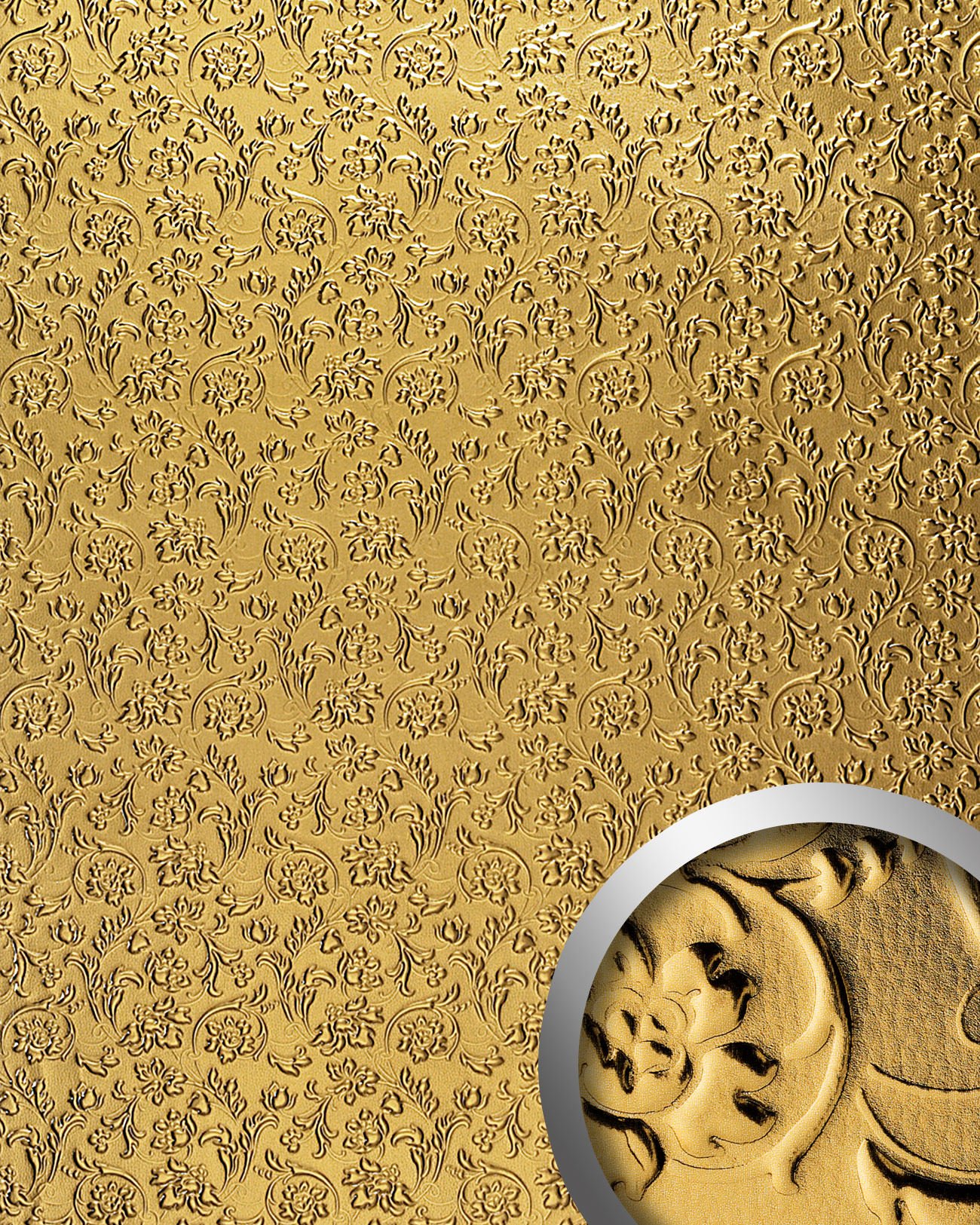 Wallface 14267 Floral Wall Panel Leather Baroque Flower Interior Decor Wallcovering Self Adhesive Gold 2 60 Sqm Wallface Shop