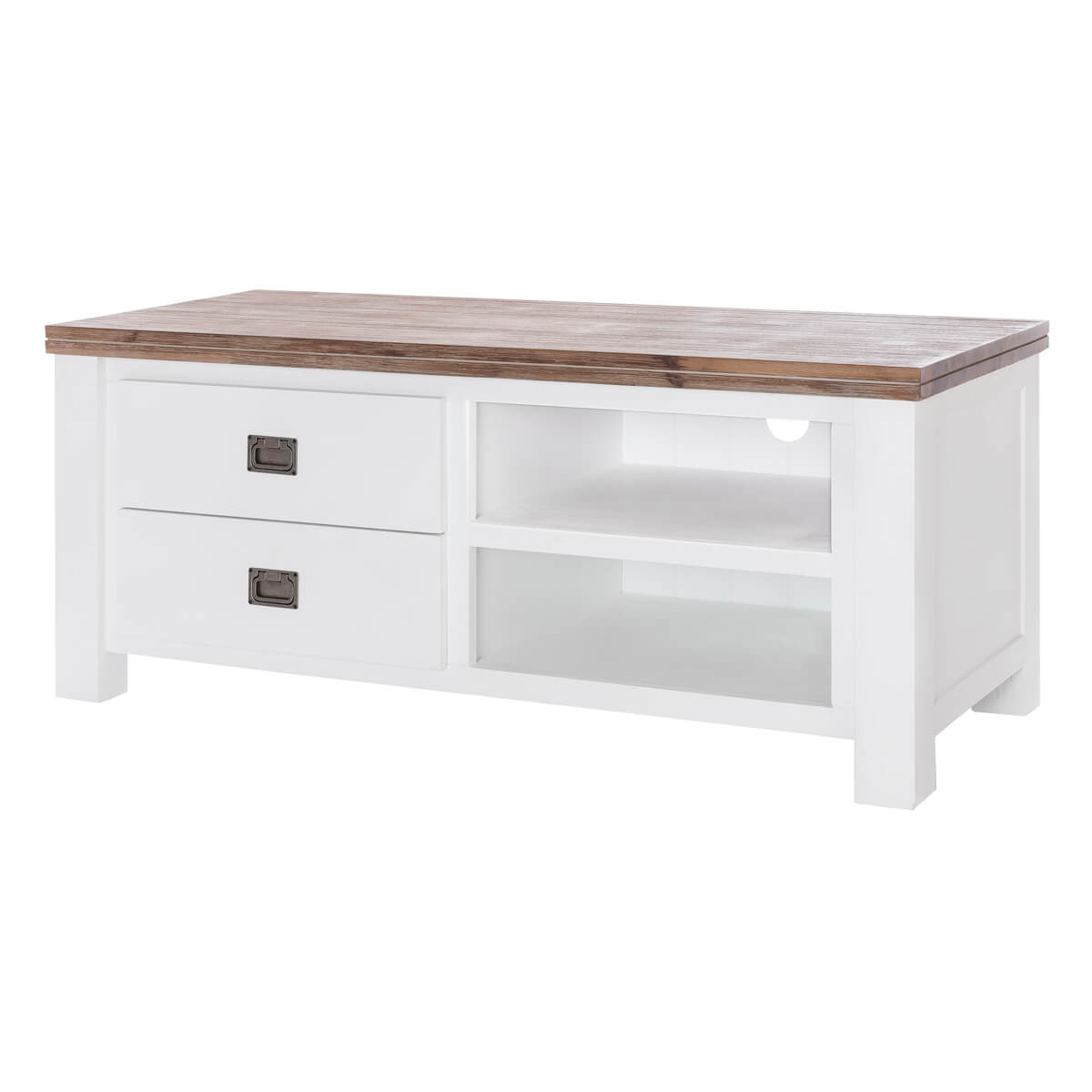 Möbel Landhausstil Massiv Tv Lowboard Lyron In Akazie Massiv Weiß Braun 120 Cm