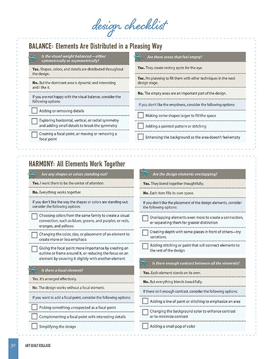 Design Checklist from Art Quilt Collage - CT Publishing
