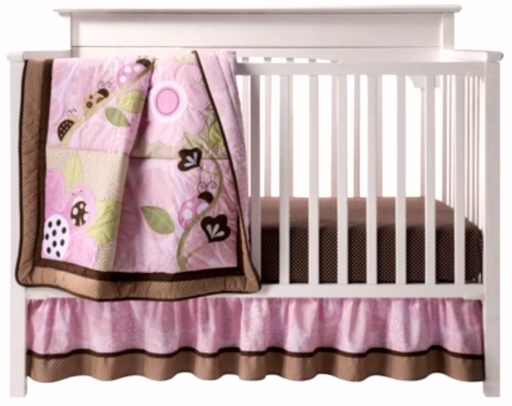 Full Crib Bedding Sets Full Crib Size Tiddliwinks Mocha Ladybug Pink Brown Green 3 Pc Nursery Bedding Set