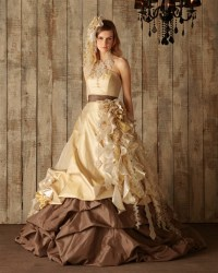 Chocolate Brown and Yellow Gold Wedding Dress