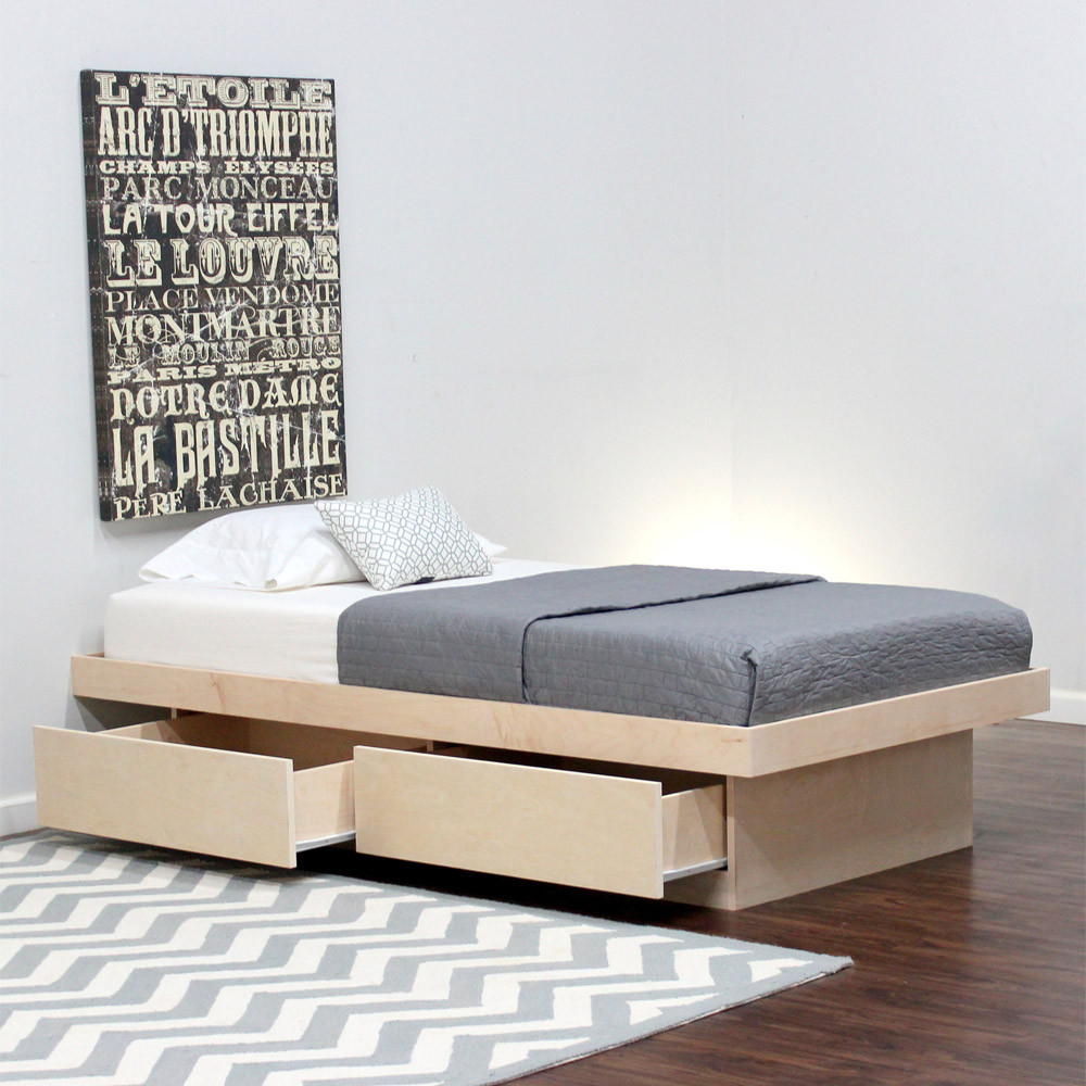Twin platform bed with 2 drawers on tracks shown in birch