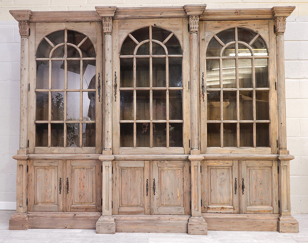 French Style Reclaimed Triple Bookcase French Country Furniture Usa