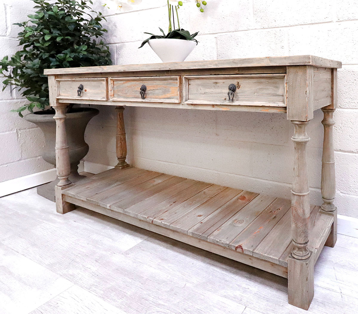 French Reclaimed 3 Drawer Hall Table French Country Furniture Usa
