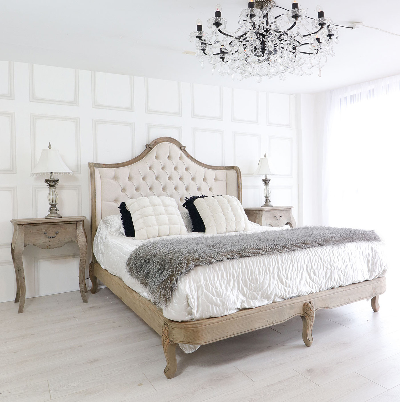 French Reclaimed Tufted Bed French Country Furniture Usa
