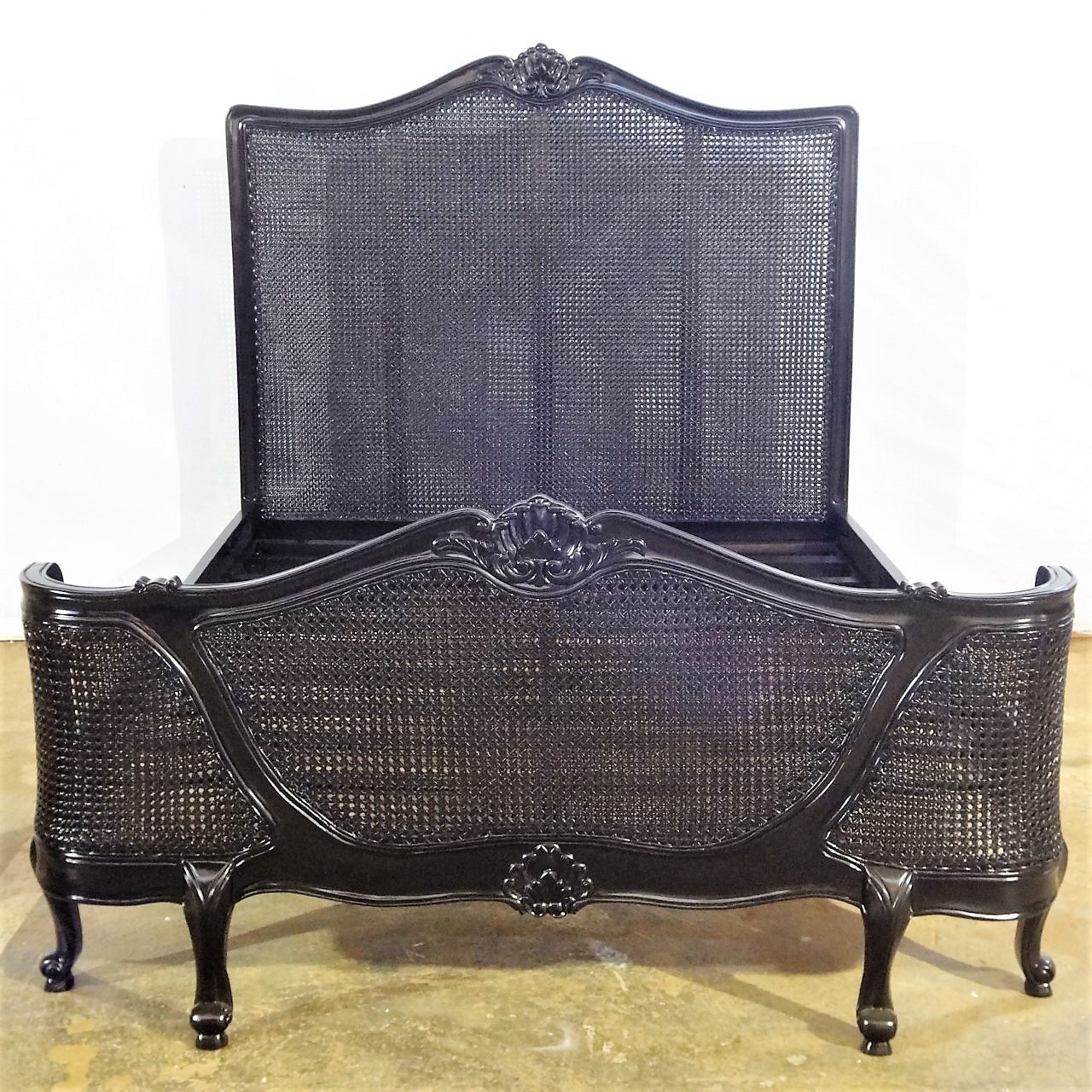 French Chateau Rattan Bed Black Gloss French Country Furniture Usa