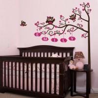 Nursery Crib Name Tree & Owls Wall Decal | DecalMyWall.com