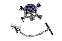 Skull tie pin with sapphire crystals | Cufflinks World